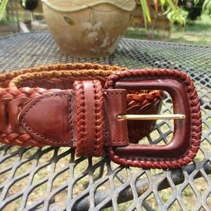 Gammon Shire Brown Leather Woven Boho Belt Size 30